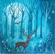 tableau animaux onirique feerique toile enfant tableau 20 x 20 : Au bout de la nuit