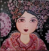 tableau personnages visage portrait art folk naif pers mauve rose rouge toile portrait : Herminie