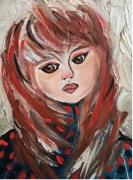 tableau personnages carton toile minois triste petite fille visage : Roxane
