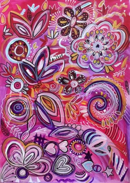 TABLEAU PEINTURE bonheur fleurs coeurs peinture Fleurs Acrylique  - BONHEUR VENDU