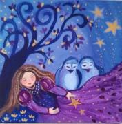 tableau personnages univers enfance toile feerique art princesse petits oi acrylique sur toile : Rêve Etoilé