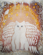 tableau animaux chat chat ange blanc or : Mon petit Ange