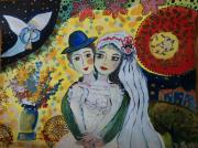 dessin personnages inspiration chagall couple noces amour inconditionnel : Les noces