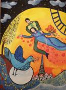 tableau personnages amoureux paris tour effel inspiration chagall : Love in Paris