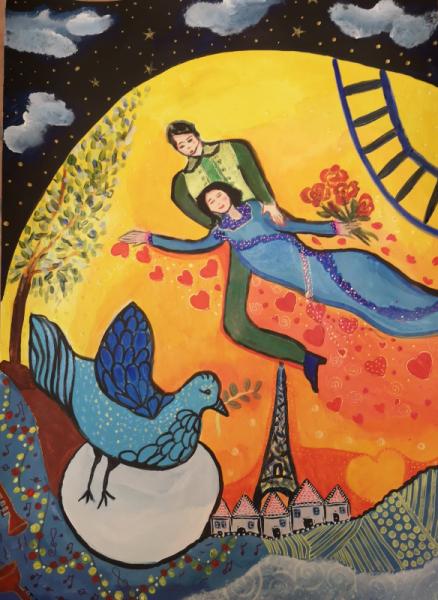 TABLEAU PEINTURE amoureux Paris tour Effel inspiration Chagall Personnages Acrylique  - Love in Paris