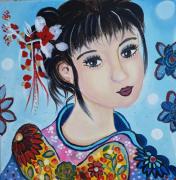 tableau personnages portrait visage petite fille univers de chine : Le monde de Mei-Ly