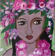 tableau personnages portrait feminin petite fille tahitienne : Petite fleur des Iles