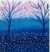 tableau paysages vol d oiseau poetique naif paysage : L'envol