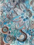 tableau fleurs fleurs abstraites fleurs bleues jardin imaginaire pluie : Sous la pluie