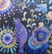 tableau animaux petite oiseau dans l fleurs oiseau pays toile tableau oise couleurs irisees : Chant nocturne