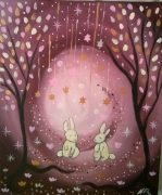 tableau animaux lapins art naif art contemporain feerique : Le petit jardin d'étoiles