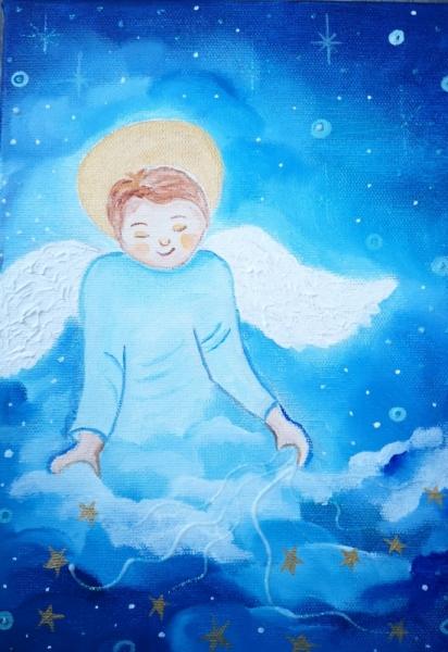 TABLEAU PEINTURE étoiles ,ange somme toile pour enfant f Personnages Acrylique  - Dors mon tout petit