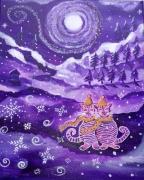 tableau animaux 2 chats neige montagne feerique : Les nuits blanches