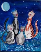 tableau animaux chats : Vocalises Nocturnes VENDU