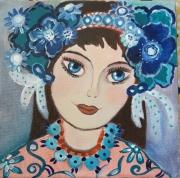 tableau personnages jeune fille romantique toile art contemporain : Louise