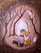 tableau personnages enfant renard art contemporain : N'aie pas peur, je suis là