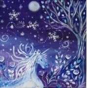 tableau animaux licorne feerique univers feerique toile enfant licorne bleue : Licorne sous la neige