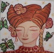 tableau personnages elfe univers feeri murmures dialogue protectrice des lieu portrait visage e : Petite Elfe et les papillons