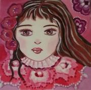 tableau personnages portrait petite fille porcelaine toile enfant : Nawèle