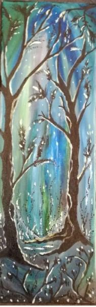 TABLEAU PEINTURE univers féérique toile lucioles, bois vert, bleu, noir Paysages Acrylique  - le bal des lucioles VENDU