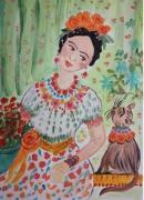 tableau personnages kahlo cat and frida dessin imaginaire aquarelle encadree personnage chat : kahlo cat and Frida