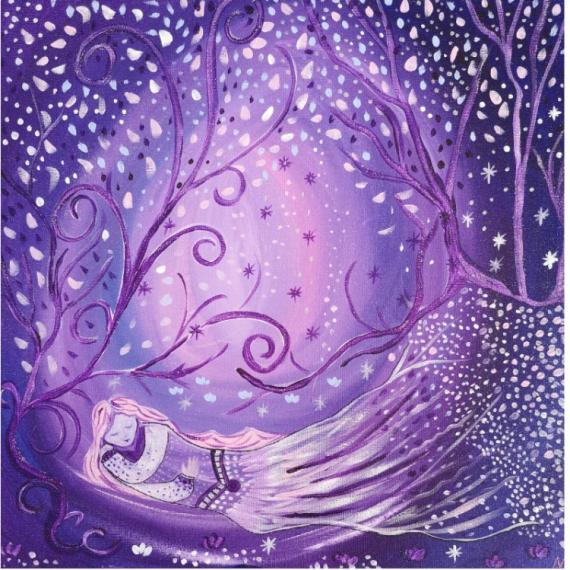 TABLEAU PEINTURE elfe toile féérique univers magique les toiles d'Ysis Personnages Acrylique  - Souffle d'étoiles