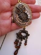 bijoux animaux bijou de creation les toiles d ys confection main collier : Collier Chouette
