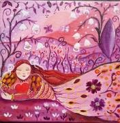 tableau personnages princesse tableau pour enfant toile feerique univers princesse : Sur un tapis de fleurs
