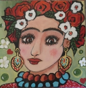 tableau personnages toile 20 x 20 frida kahlo ma fri folkart frida pers acrylique sur toile : Frida la Belle enfant