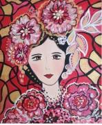 tableau personnages toile visage folkart visage por rouge rose dore portrait feminin fo : petite Geïsha
