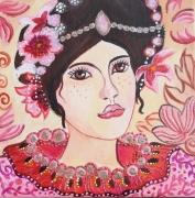 tableau personnages toile visage femme enfant visage jeune fille rose or et noir : Emma