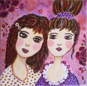 tableau personnages coquettes demoiselles portrait feminin art naif : Les demoiselles coquettes