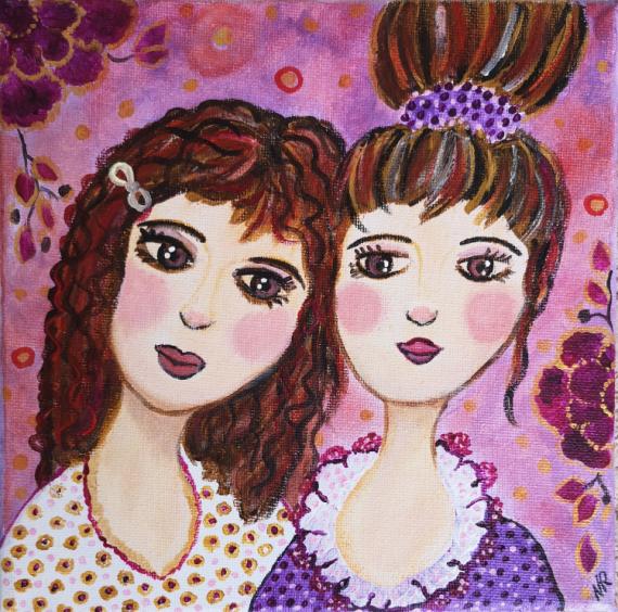 TABLEAU PEINTURE coquettes demoiselles portrait féminin art naïf Personnages Acrylique  - Les demoiselles coquettes
