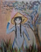 dessin personnages enfant au chapeau ch papier aquarellle en bleu beige : Voyage en asie soldé