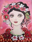 tableau personnages visage portrait visage feminin rose : Charlotte