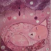 tableau animaux chat tableau petit chat rose toile pour enfant univers tendre : Dors mon petit chat