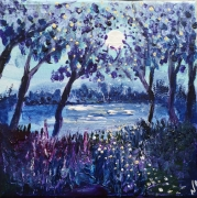 tableau paysages realisation au coute toile paysage petit format lune et paysage : Sous la lune