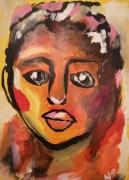 dessin personnages portrait brut acryl orange noir jaune ,a encadrer visage face : Tahitienne