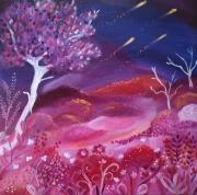 tableau paysages feerique paysage naif or parme rou etoiles filantes ciel etoiles magi : le feu du ciel