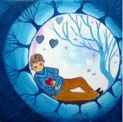 tableau personnages onirique feerique enfance imaginaire : Dans ma bulle