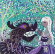 tableau personnages petit fille dragon feerique acrylique sur toile : Adéluzia et le dragon