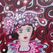 tableau personnages personnage visage petite fille portrait feminin : Frou-Frou