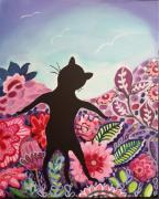 tableau animaux chat chat noir fleurs curiosite : Par delà les fleurs , il y a ?