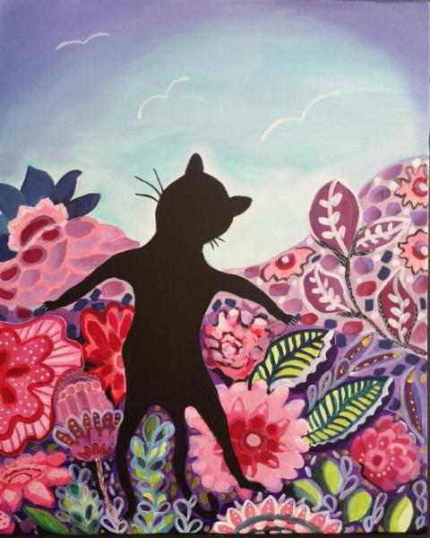 TABLEAU PEINTURE chat chat noir fleurs curiosité Animaux Acrylique  - Par delà les fleurs , il y a ?