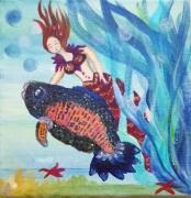 tableau personnages sirene toile naive art naif toile enfant : La belle et le poisson