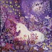 tableau animaux licorne univers en licorne univers fe mauve rose fleurs foret nuit jardin : Belle de nuit
