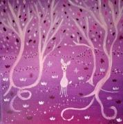 tableau animaux feerique univers ro toile rose enfant chambre de petite fi univers feerique : Seule dans les bois