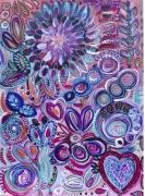 tableau vegetaux fleurs acrylique : Jardin du coeur