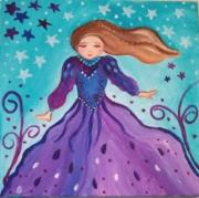 tableau personnages princesse art naif toile pour enfant tableau bleu : Dans le vent