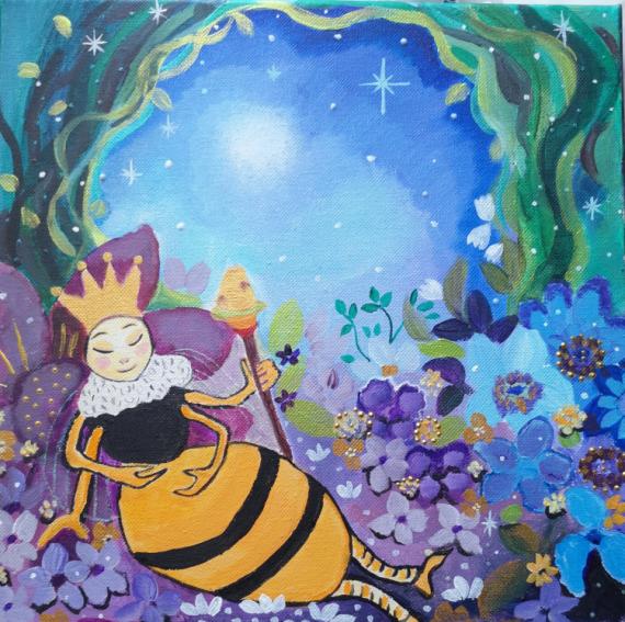 TABLEAU PEINTURE abeille reine féérique univers de conte Animaux Acrylique  - Le repos d'une reine